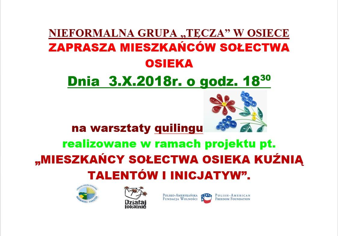 Ilustracja do informacji: Warsztaty z quilingu w Osiece